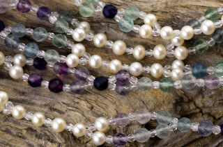 Tantric Necklace Mala Rainbow Fluorite, Pearl & Crystal