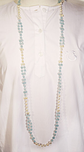 Tantric Necklace Mala Aquamarin, Perle & feuerpolierter Kristall