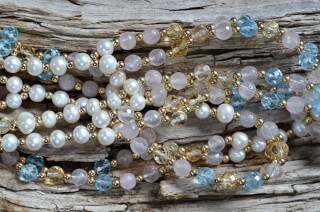 Tantric Necklace Mala Blue Topaz, Citrine, Rose Quartz, Pearl & Gold