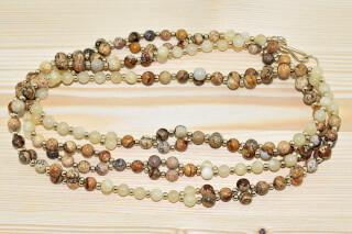 Tantric Necklace Mala Pierre de lune, Jaspe & Or