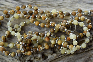 Tantric Necklace Mala Peach Moonstone, Jasper & Silver