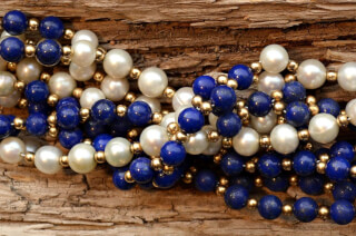 Tantric Necklace Mala Lapis Lazuli, Pearl & Gold