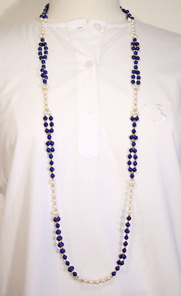 Tantric Necklace Mala Lapis, Pearl & Gold Fill