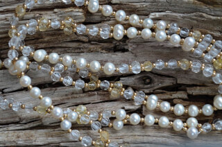 Tantric Necklace Mala facetted Citrin & Quartz Crystal, Pearl & Gold