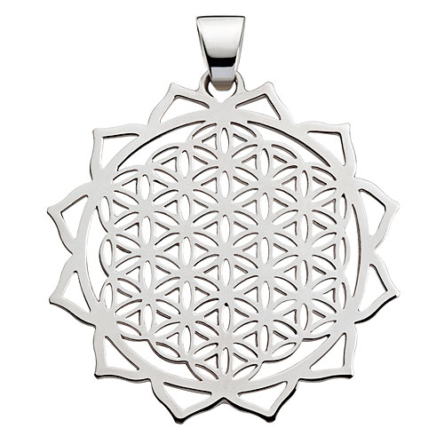 "Silver jewelry pendant ""12-petalled Lotus & Flower of Life"""