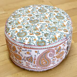 Meditation Cushion Baghi Round, Orange-Turquoise