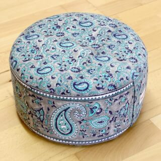 Meditation Cushion Baghi Round, Turquoise-Grey
