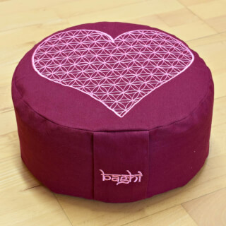 Meditation Cushion Baghi Round Heart-Flower, Bordeaux