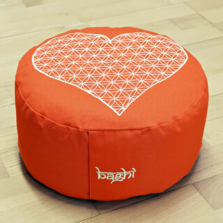 Meditation Cushion Baghi Round Heart-Flower, Orange