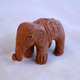 Incense Stick Holder Clay-Elephant, lowered trunk