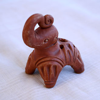 Incense Stick Holder Clay-Elephant, erected trunk