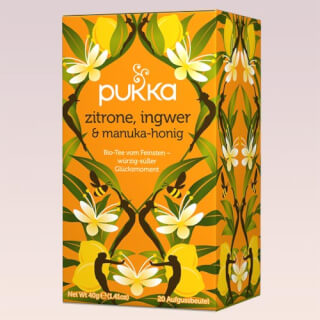 Lemon, Ginger & Manuka-Honey Pukka Tea organic, 20 teabags