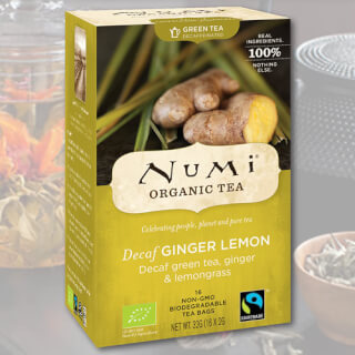 Decaf Ginger Lemon Numi Tea bio, 18 sachets
