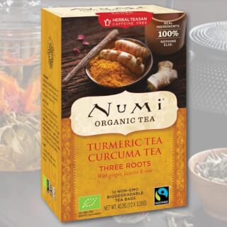 Three Roots Turmeric Numi Tea organic, 12 teabags