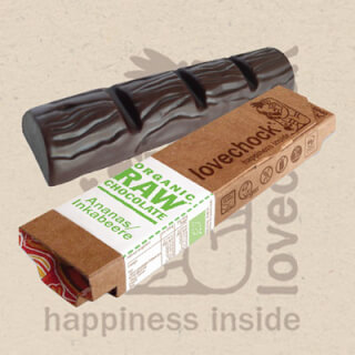 Lovechock Raw Chocolate Bar PINEAPPLE-INCABERRY, 40 g
